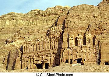 Royal tombs in the rock in Petra, Jordan