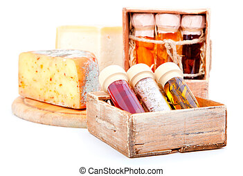 Spices in glass bottles, in the old box