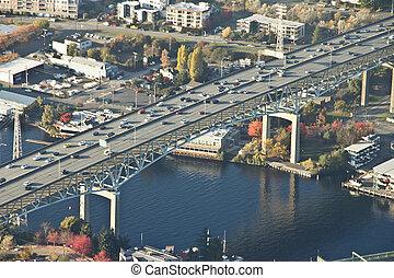 Traffic on a Tall Interstate Bridge