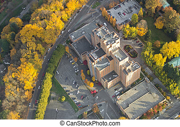 Hospital on Top of a Hil in Autumn - Aerial view of...