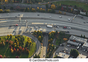 Highway Accident with Shipping Truck - Aerial view of a...