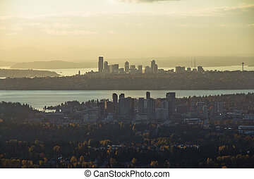 Twin Cities at Sunset - Aerial view of Bellevue in...