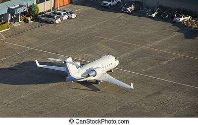 Corporate Jet Ready to Depart - Aerial view of Challenger...