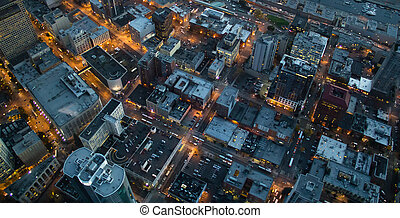City at Night - Aerial view of lights at dusks in Seattle,...