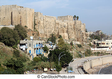 Citadel - River and big Citadel in Tripoli, Lebanon
