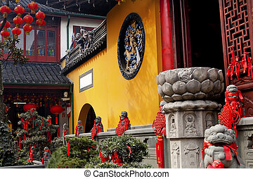 Jade Buddha Temple Doorway Lanterns Ribbons Jufo Si Shanghai China Most famous buddhist temple in Shanghai  Chinese New Year Decorations