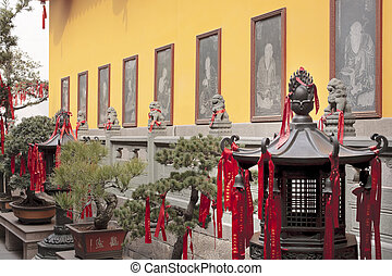 Buddhist Etchings Red Ribbons New Year Sayingts Chinese New Decorations Lanterns Jade Buddha Temple Jufo Si Shanghai China Most famous buddhist temple in Shanghai