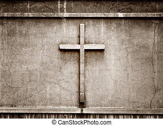 cross on wall background  - cross on wall background