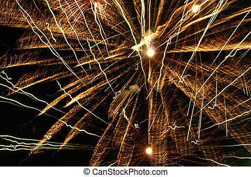 Golden Fireworks Bursts. - Golden Fireworks Bursts in a...