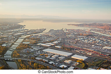 Commencement Bay Shipping Port - Tacoma, WA - Aerial view of...
