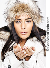 Winter Woman Blowing