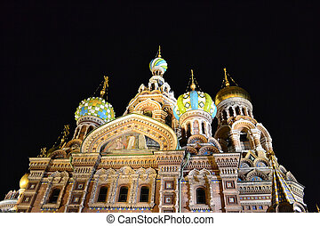 "Orthodox Church ""Spas na Krovi"" at night, St.Petersburg,..."