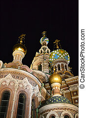 Orthodox Church quot;Spas na Kroviquot; at night,...