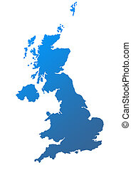 United Kingdom map in blue on white background.