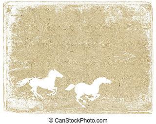 horse  on grunge background