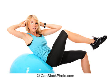 Sit-ups - A picture of a beautiful young fit woman doing...
