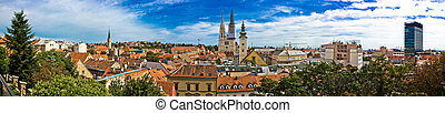 Zagreb cityscape panoramic view at old town center - Zagreb...