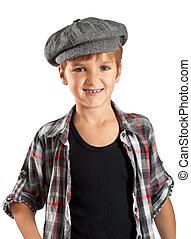 sorrizo, criança, boina, camisa