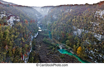 Plitvice lakes national park canyon in fog