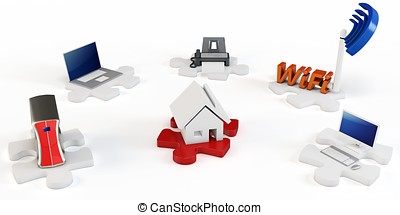 3d house wifi computer concept on white background