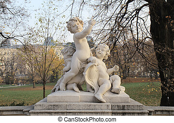 Park sculpture, Childrens figures Vienna, Austria - The...
