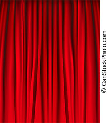 Background with red velvet curtain Vector illustration