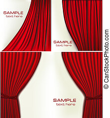 Set of backgrounds with red velvet curtain. Vector...