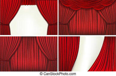 Set of backgrounds with red velvet curtain Vector...