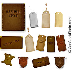 Mega set of leather labels and tags