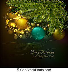 Christmas background with tree and balls Vector illustration...