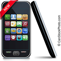 touchscreen mobile phone with icons. Vector.