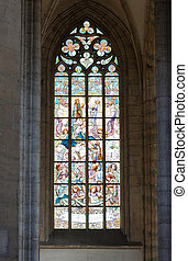 Beautiful neogothic painted glass windows in the Saint Barbara's church in Kutna Hora, a UNESCO site in the Czech Republic