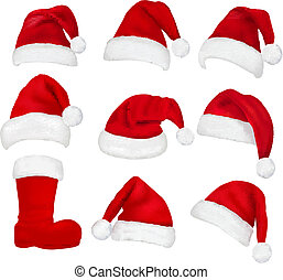 Big set of red santa hats and boot. Vector