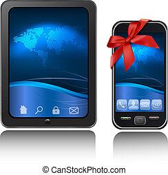Tablet Computer and mobile phone with ribbons Vector