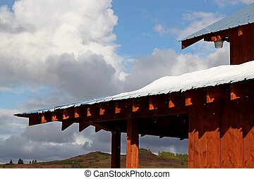 Snow melting off the roof