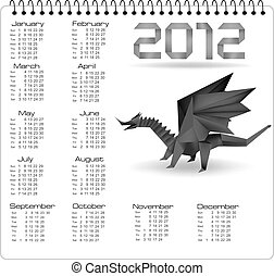 2012 year calendar with origami dra