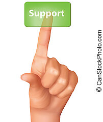 A finger pushing support button. Vector illustration.