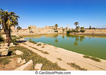 Sacred lake in Temple of Karnak, Egypt - The lake served for...