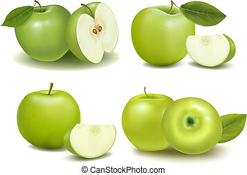 Set of fresh green apples with green leafs. Vector.