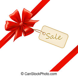 Red gift bow with ribbons and sale