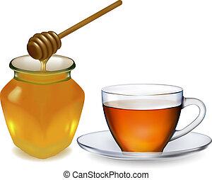 tasse, thé, miel