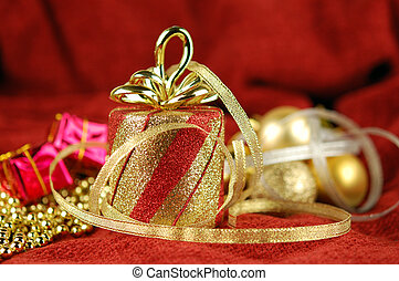 Christmas ornaments and golden ribbon as abstract holiday...