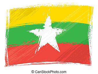 Grunge Myanmar flag - Myanmar national flag created in...