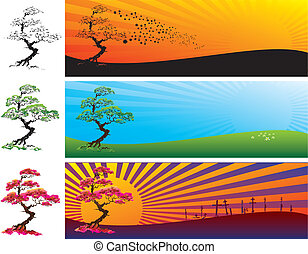 The tree in the landscape - Three versions of the landscape...