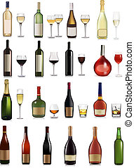 Set of different drinks and bottles. Vector illustration