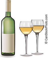 Bottle of white wine and two glasses. Vector illustration.