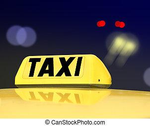 táxi, sinal, noturna