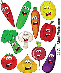 Vegetable cartoon character - Vector illustration of...