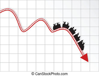 Roller coaster graph - Vector illustration of Roller coaster...