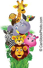 Funny animals - Vector illustration of Funny animals cartoon